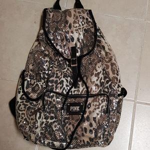 Victoria Secret Pink Cheetah Sequin Backpack